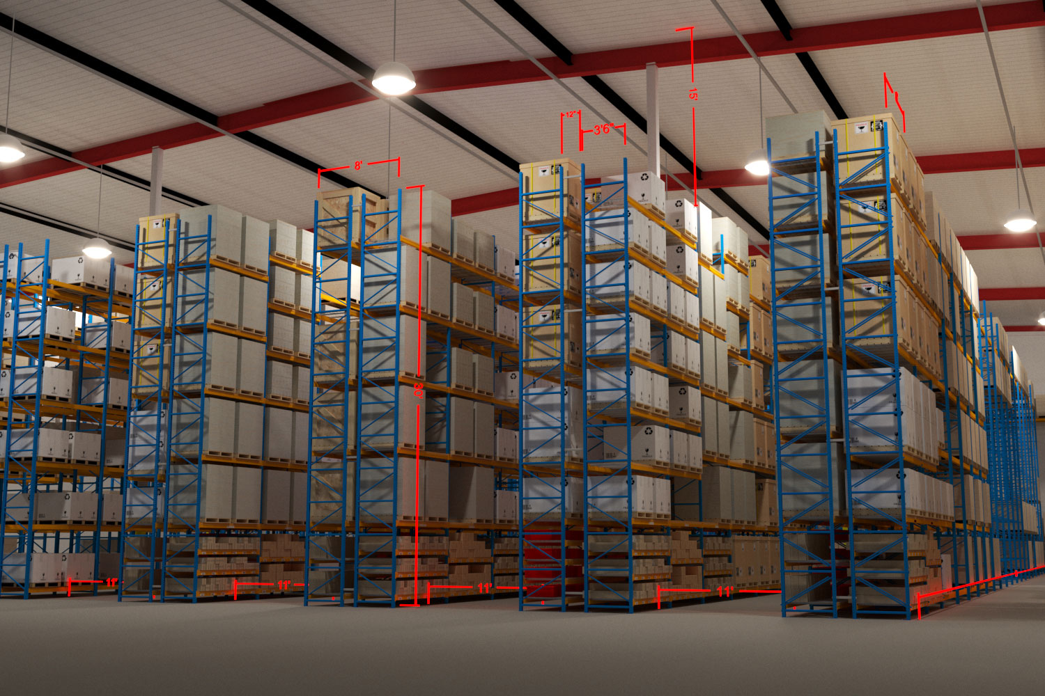 model warehouse facility aisles stacked boxes